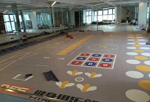 龙头寺DFS健身俱乐部铺设室内运动地板胶